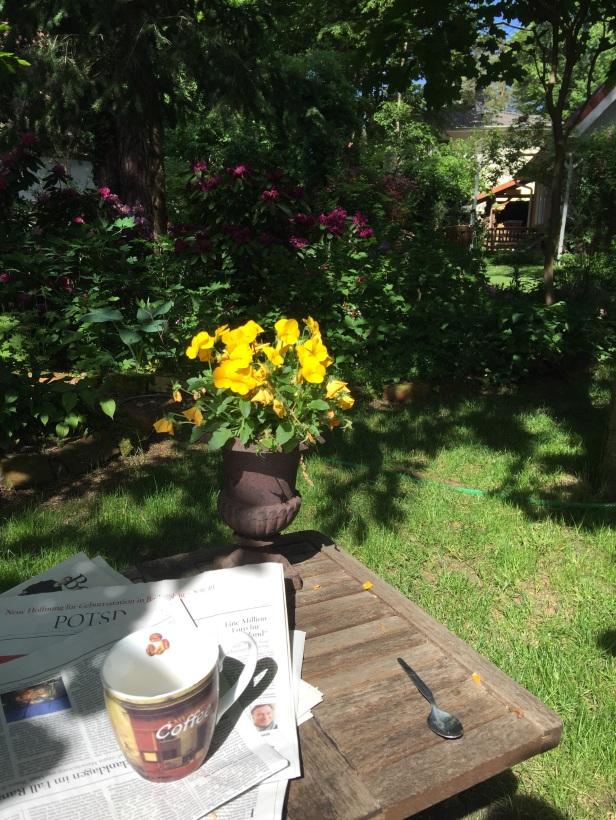 Mit Kaffee und Morgenzeitung im Garten